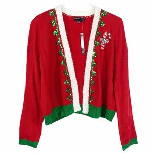 REFERENCE POINT red sequin Christmas cardigan NWT